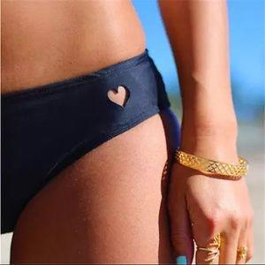 Heart cut out black bikini bottom